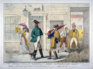 Anglo-Gallic Salutations in London - or Practice Makes Perfect -, 1835 by Isaac Robert Cruikshank