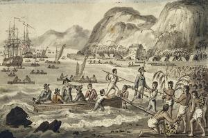 Captain Cook Landing in Owyhee, Illustration from 'The Voyages of Captain Cook' by Isaac Robert Cruikshank