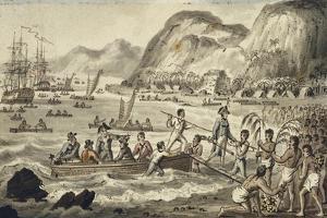 Captain Cook Landing 'N Owyhee', from the Voyages of Captain Cook by Isaac Robert Cruikshank