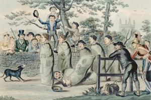 Jumping in Sacks by Isaac Robert Cruikshank