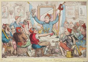 Modern Reformers in Council - or - Patriots Regaling, 1818 by Isaac Robert Cruikshank