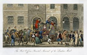 Post Office Bristol, Arrival of the London Mail, The English Spy, by Charles Molloy Westmacott by Isaac Robert Cruikshank