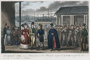 Splendid Jem' Amongst the Convicts in the Naval Dock Yard at Chatham, Kent, 1821 by Isaac Robert Cruikshank