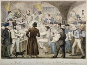 The Evening after a Mock Election in the Fleet Prison, June 1835 by Isaac Robert Cruikshank