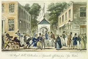 The Royal Wells, Cheltenham, or Spasmodic Affections for Spa Water, 1825 by Isaac Robert Cruikshank