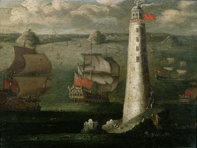 Men-O-War and Other Vessels Before the Eddystone Lighthouse