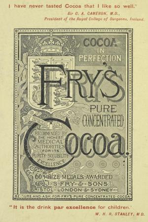 Advertisement For Fry's Cocoa by Isabella Beeton