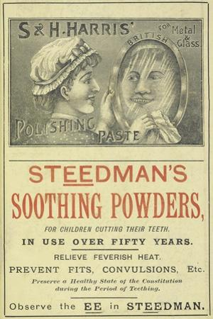 Advertisement For Steedman's Smoothing Powders and Harris' Polishing Paste by Isabella Beeton
