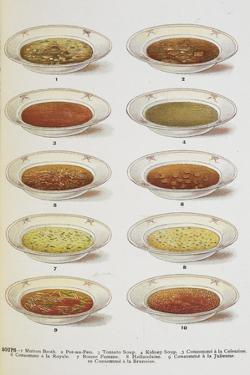 Assorted Bowls Of Soup by Isabella Beeton