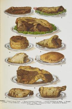 Assorted Roast Meats Including Pork, Mutton and Beef by Isabella Beeton