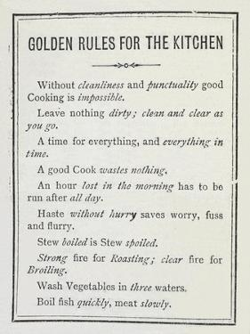 Golden Rules For the Kitchen by Isabella Beeton