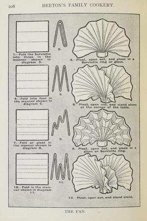 Instructions For Folding a Serviette Into a Fan Shape by Isabella Beeton