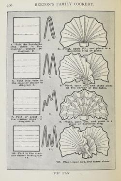 Instructions For Folding a Serviette Into a Fan Shape by Isabella Beeton
