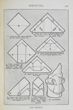 Instructions For Folding a Serviette Into the 'Bishop' Shape by Isabella Beeton