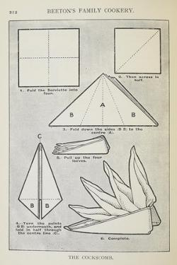 Instructions For Folding a Serviette Into 'The Cockscomb' Shape by Isabella Beeton