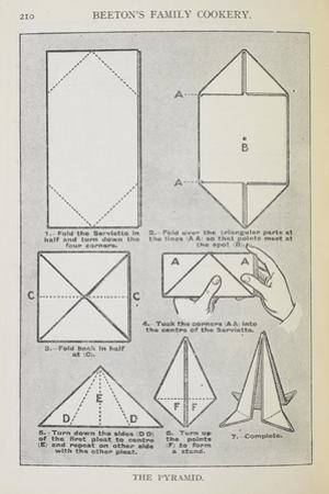 Instructions For Folding a Serviette Into the 'pyramid' Shape by Isabella Beeton