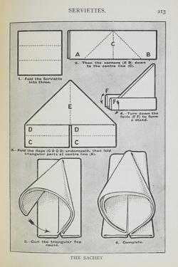 Instructions For Folding a Serviette Into the 'sachet' Shape by Isabella Beeton