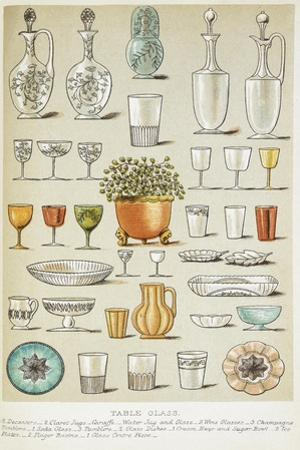 Table Glass. Various Glasses and Dishes by Isabella Beeton