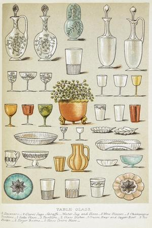 Table Glass. Various Glasses and Dishes