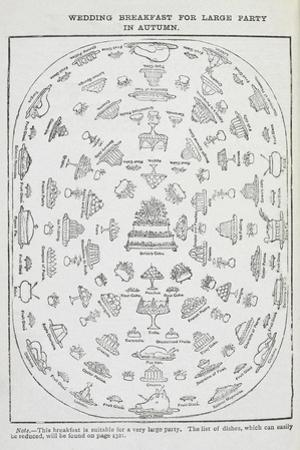 Table Layout For a Wedding Breakfast For a Large Party in Autumn by Isabella Beeton