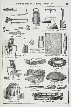 Utensils Used in Making Pastry, Including Various Knives, Moulds and Tins