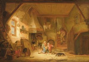 Children Playing by a Cottage Fire, 1641 by Isack van Ostade