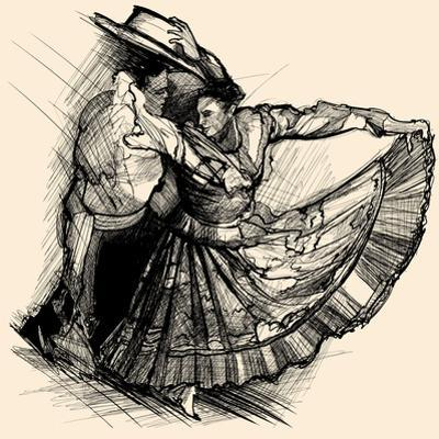 Vector Illustration of a Latino Dance Drawing by isaxar