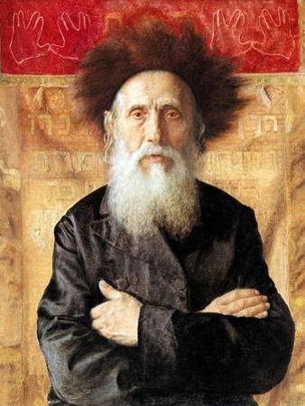 Portrait of a Rabbi before Torah Curtain