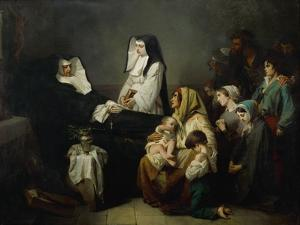 The sick and the poor come to pray, as sister Saint-Prosper lies in state on August 39, 1846 by Isidore Pils