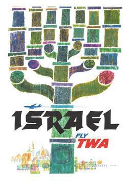 Israel - Trans World Airlines Fly TWA - Menorah