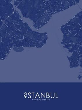 Istanbul, Turkey Blue Map