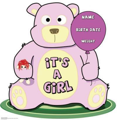 It's A Girl Teddy Bear Lifesize Standup