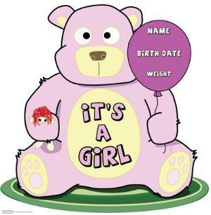 It's A Girl Teddy Bear Lifesize Standup