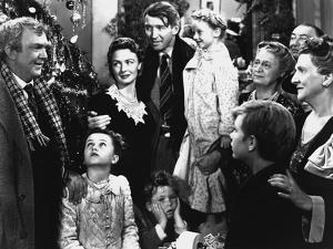 It's a Wonderful Life de FranckCapra avec James Stewart et Donna Reed 1946 famille devant un arbre