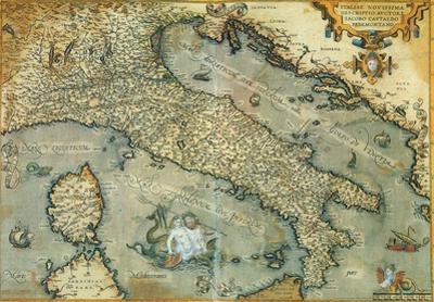 Italia (Italy) - Vintage Style Italian Map Poster