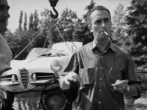 Italian director Michelangelo Antonioni (1912 - 2007) on the set of hid film L'eclisse 1961 (b/w ph