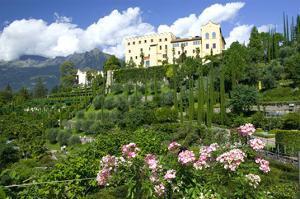 Italian Garden towards water and terraced garden, Trauttmansdorff Castle Gardens, Merano, Italy