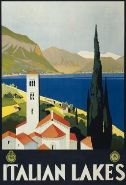 Italian Lakes Tourism Vintage Ad Poster Print