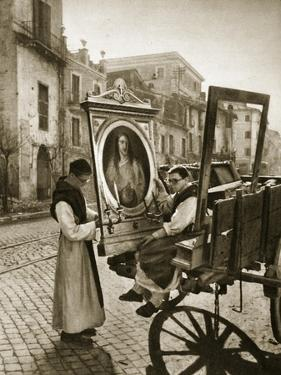 Italian Monks Remove Treasures from their Convent's Chapel for Safekeeping, 1943-4