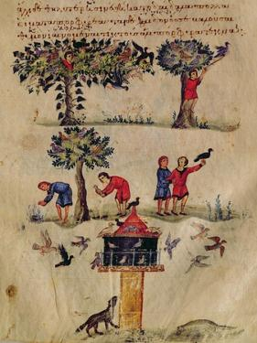 Ms Grec 479 Hunting for Birds, Illustration Probably from the Ixeutika by Oppian by Italian