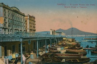 Naples - View of the Grand Hotel Santa Lucia and Mount Vesuvius. Postcard Sent in 1913