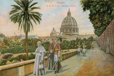 Pope Pius X in the Gardens of the Vatican, Rome. Postcard Sent in 1913