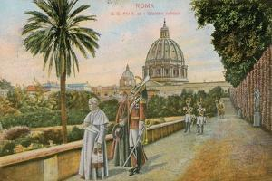 Pope Pius X in the Gardens of the Vatican, Rome. Postcard Sent in 1913 by Italian Photographer
