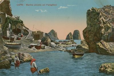 Small Marina and the Faraglioni, Capri. Postcard Sent in 1913