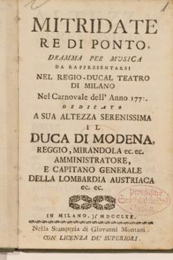 Frontispiece from an Early Copy of 'Mitridate, Re Di Ponte', an Opera by Wolfgang Amadeus Mozart by Italian School