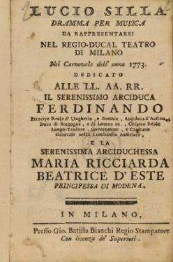 Frontispiece from Mozart's 'Lucio Silla', Performed in Milan in 1773 by Italian School