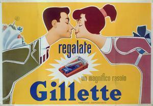 Poster Advertising Gillette Razors by Italian School