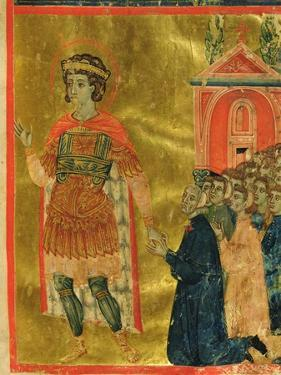Some Brothers Praying to St. Theodore, from a Mariegola, 1350 by Italian School