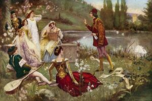 The Telling of One of the Decameron Stories by Italian School