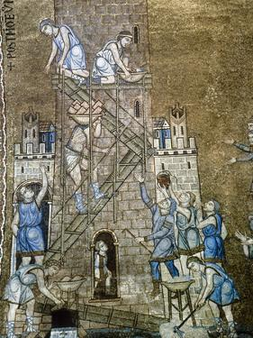 Italiy. Venice. Saint Mark's Basilica. Construction of the Tower of Babel. 13th Century